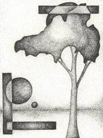 Pen & Ink Illustration Of A Tree & Moons By Doug A