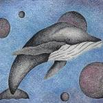"""Pen & Ink Illustration ""Whale With Moons"" By Doug"" by drawingwithdots"