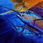 """""Sunset Bite"" Sailfish fishing painting"" by Savlen"