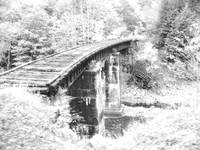 Rustic Railroad Trestle in B/W