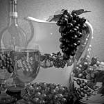 """Pottery, Wine & Grapes B & W"" by spops"