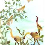 """Storks in a pond near the bamboo grove"" by EcoArt"