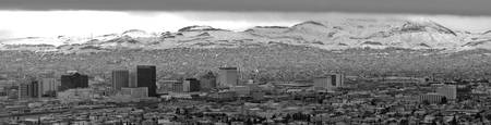 Downtown El Paso Snow B/W - Panorama