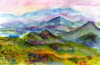 Blueridge Mountains Georgia Watercolor by Ginette