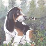 """Basset Hound Dog Puppy Art"" by artbykkay"