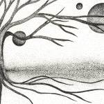 """Pen & Ink Ilustration By Boug Ashby. Tree & Moons"" by drawingwithdots"