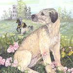 """Irish Wolfhound Dog Puppy Art"" by artbykkay"