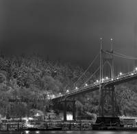 St. Johns Bridge, snowy night