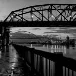 """Fremont and Broadway bridges"" by zebandrews"