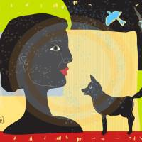 Woman with dog fine art illustration Art Prints & Posters by T Forsman