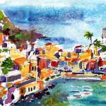 """Vernazza Cinque Terre Italy Watercolor by Ginette"" by GinetteCallaway"