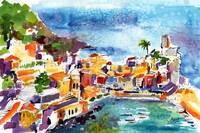 Vernazza Cinque Terre Italy Watercolor by Ginette