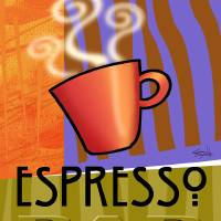 Steaming Cup of Espresso Art Prints & Posters by Cheryl Daniels