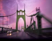 St. Johns Bridge, sunset driving