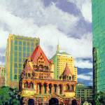 """Trinity Church, Copley Square Boston, RD Riccoboni"" by BeaconArtWorksCorporation"