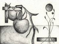 Pen & Ink Illustration Of A Tomato Plant