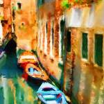 """Venice Canal with Boats"" by marywhitmer"
