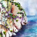"""White Cliffs of Cassis France Watercolor by Ginett"" by GinetteCallaway"