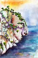 White Cliffs of Cassis France Watercolor by Ginett