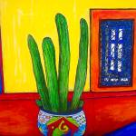 """Talavera Pot with Cactus"" by bondpaz"