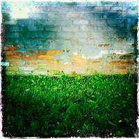 Wall and lawn meet