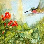 """Ruby-Throated Hummingbird"" by Mesterartshop"
