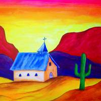 Superstition Mountain Church Art Prints & Posters by Pamela Price
