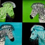 """Popart zebras facing - green zebras, blue zebras"" by Spangles44"