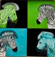 Popart zebras facing - green zebras, blue zebras