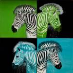 """Popart zebras - Zebras Popart - Green Zebras, Blue"" by Spangles44"