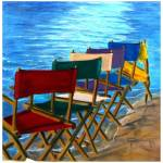"""Directors chairs at beach"" by Spangles44"