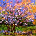 """Spring Blossom Tree Square Oil Oainting"" by GinetteCallaway"