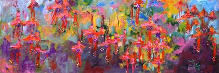 Fuschia Splendor Flower Oil Painting by Ginette