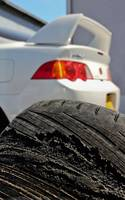 Worn drift tyre & Honda Integra Type-R DC5  - BHP