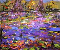 Lily Pond 2 Oil Painting by Ginette Callaway