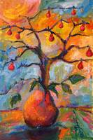 Pear Tree Surreal Oil Painting by Ginette