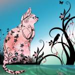 """Cherry Blossom Cat by Pond at Sunset"" by naturespaintbox"