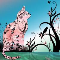 Cherry Blossom Cat by Pond at Sunset Art Prints & Posters by Lesley Smitheringale