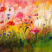 Pink Poppies Wildflower Garden Ginette Painting