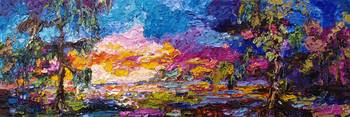 Impressionist Okefenokee Sunset Oil Painting