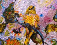 Impressionist Oil Painting Little Yellow Bird