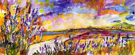 Summer Landscape Provence Watercolor