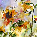 """Sunflowers Bees Watercolor and Ink by Ginette"" by GinetteCallaway"