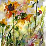 """Sunflowers and Bees Watercolor and Ink by Ginette"" by GinetteCallaway"