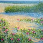 """Beach w Girl Morning Glories Oil"" by dvdhwill"