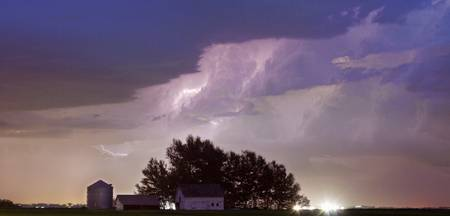 County Line Lightning Storm Panorama