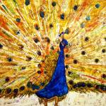 """Schirmer Peacock, modern bird art"" by schulmanart"