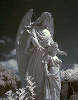Infrared Guardian Angel Statue with Child