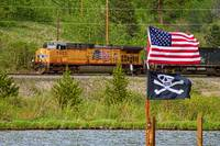 Train and Flags