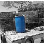 """Blue Barrel and Lobster Traps"" by DiamondCrochetCrafts"